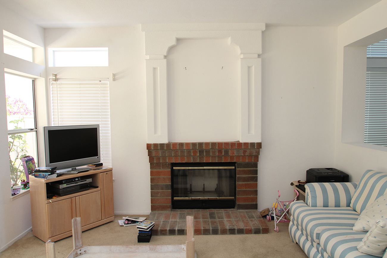 refacing a brick fireplace before and after